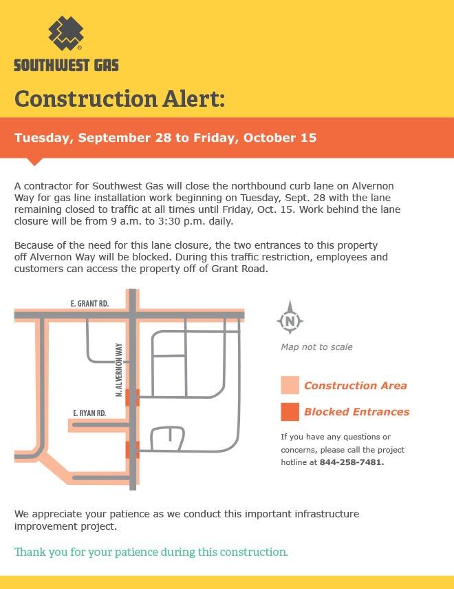 Construction Alert: Tuesday, September 28 - Friday, October 15